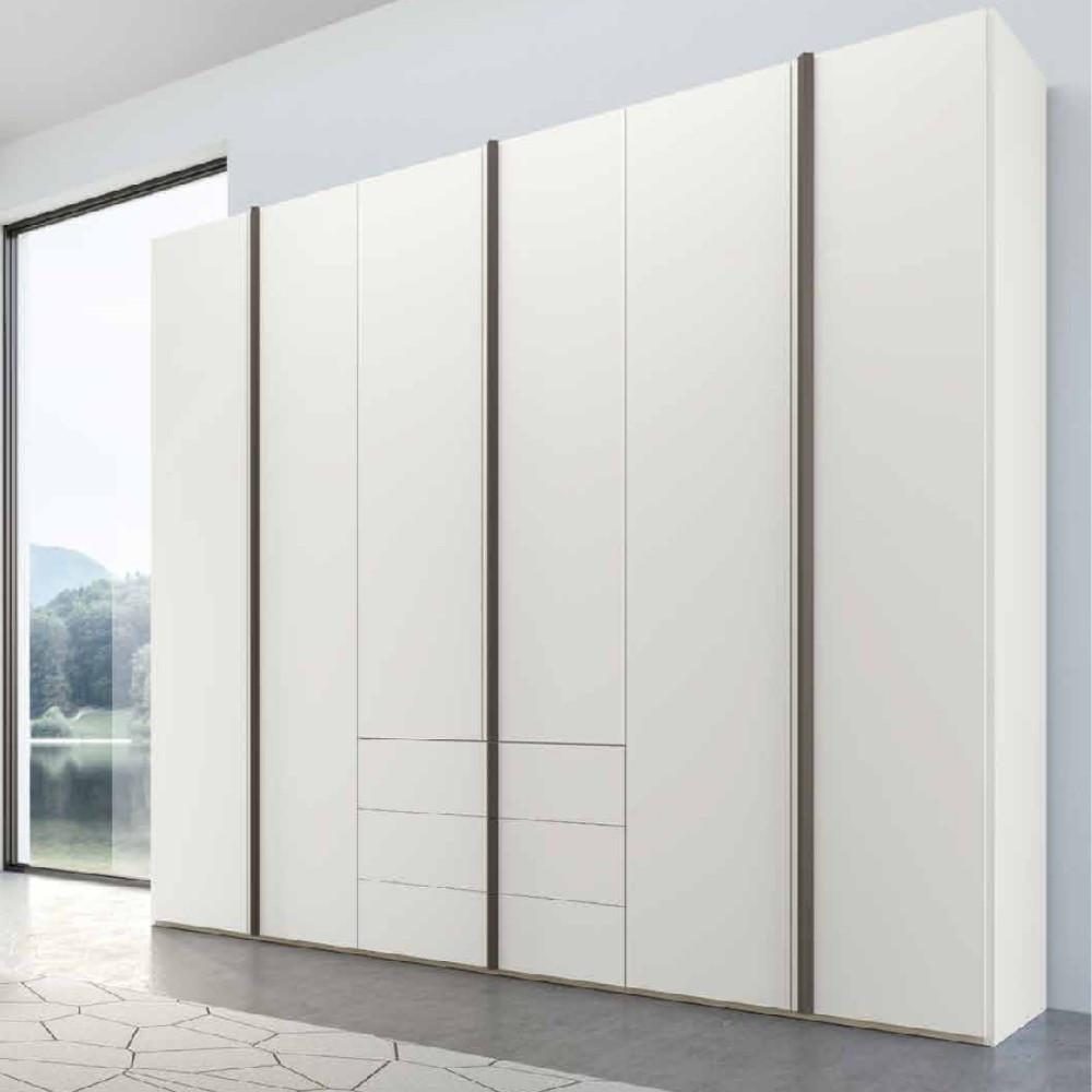 Penta modern 6-door wardrobe with white