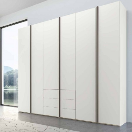 Penta modern 6-door wardrobe with white lacquered drawers
