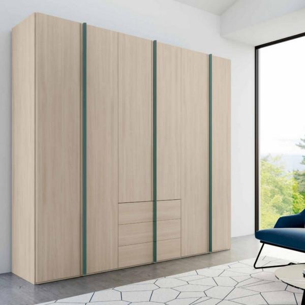 Penta armadio 6 ante moderno con cassetti olmo natura