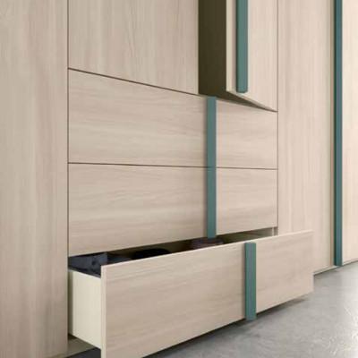 Penta modern 6-door wardrobe with natural elm drawers
