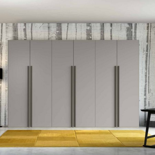 Penta wardrobe with 6 modern hinged doors in matt silk gray