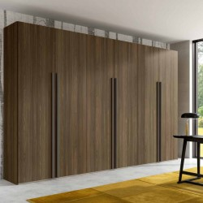 Armoire Penta avec 6 portes battantes modernes en gris soie mat