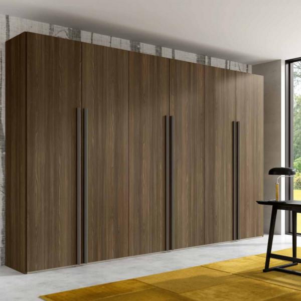 Penta wardrobe with 6 modern hinged doors in tobacco walnut