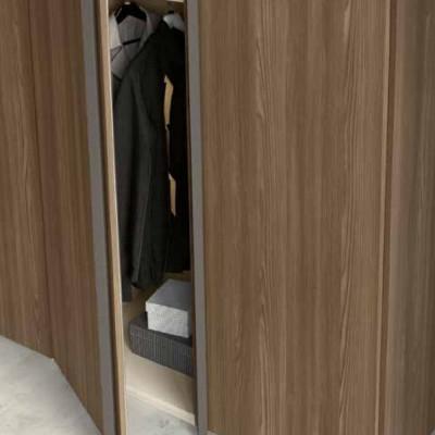 Armoire Penta avec 6 portes battantes modernes en noyer tabac