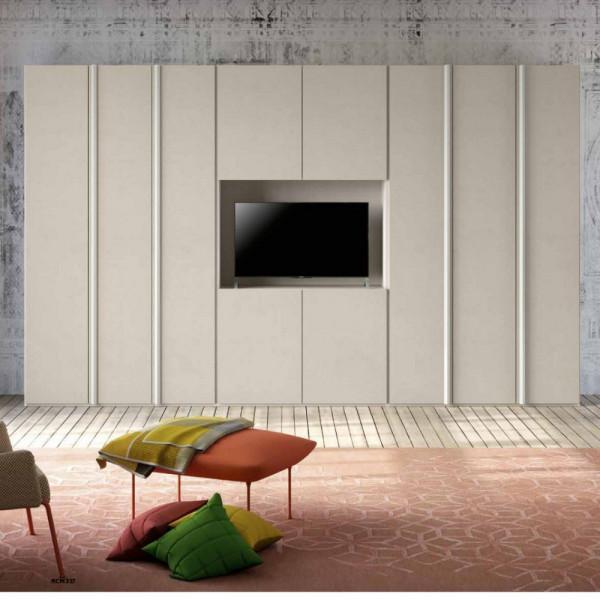 Penta modern 6-door wardrobe with White larix TV compartment