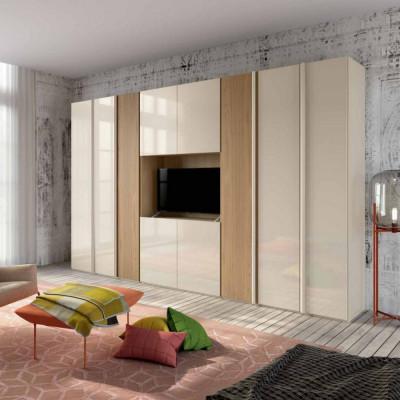Penta armoire moderne 6 portes avec compartiment TV larix blanc
