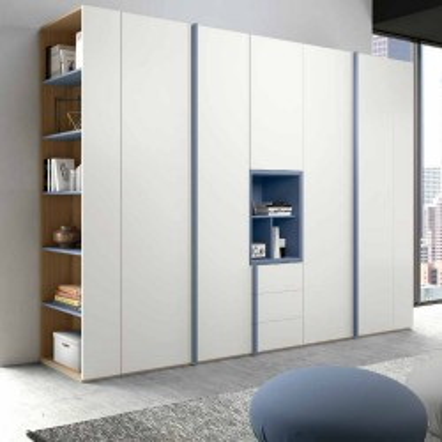 Penta armadio 6 ante moderno con vano a giorno e libreria terminale grigio seta opaco