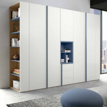 Penta modern 6-door wardrobe with open compartment and end bookcase