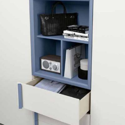 Penta armadio 6 ante moderno con vano a giorno e libreria terminale laccato bianco opaco