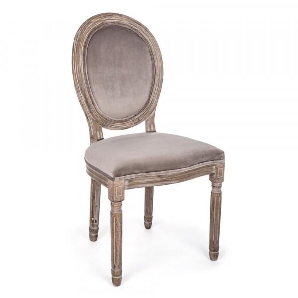 Bizzotto SEDIA MATHILDE in velluto tortora Confezione x 2 sedie