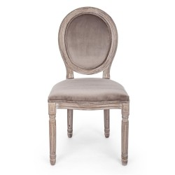 Bizzotto MATHILDE CHAIR in dove gray velvet Pack x 2 chairs