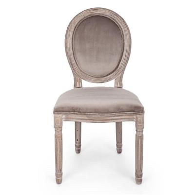 Bizzotto MATHILDE en velours gris tourterelle Pack x 2 chaises
