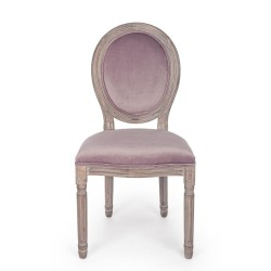 Bizzotto MATHILDE WOODROSE CHAIR in velvet, Pack of 2 chairs