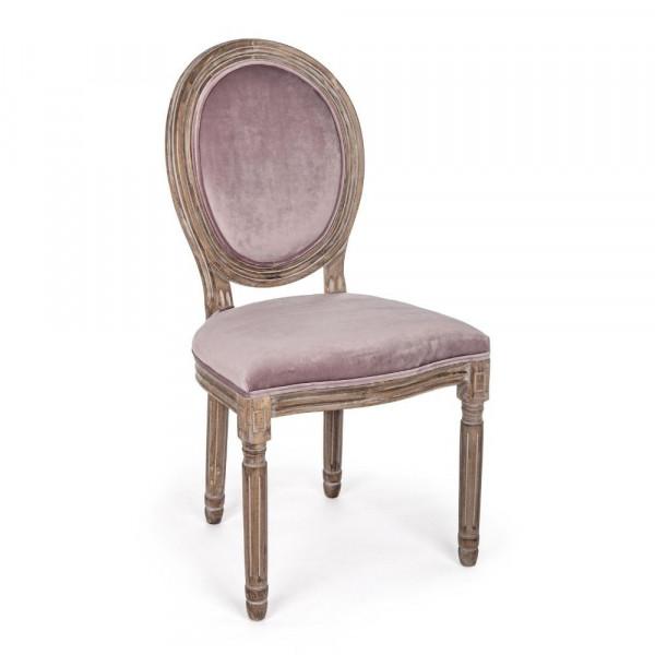 Bizzotto SEDIA MATHILDE WOODROSE in velluto, Confezione x 2 sedie