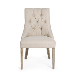 Bizzotto CALLY CHAIR natural fabric, Pack of 2 chairs
