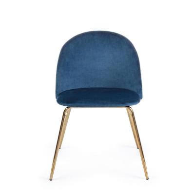 Bizzotto CHAISE TANYA velours bleu foncé, Lot de 4 chaises