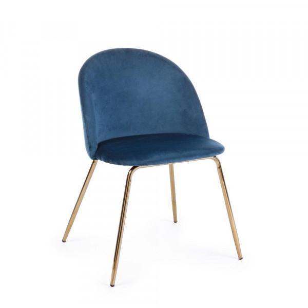 Bizzotto SEDIA TANYA velluto blu scuro, Confezione x 4 sedie
