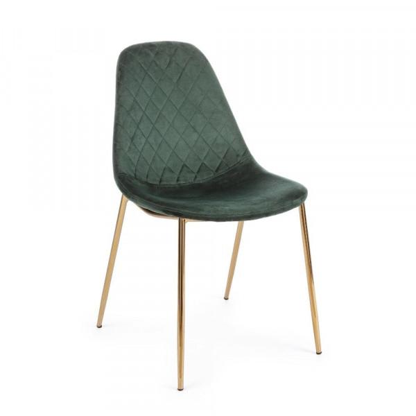 Bizzotto Terry chair, dark green velvet, Pack of 4 chairs