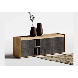 Sideboard Tobacco oak tray, light slate, door opening with push pull