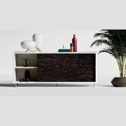 Slide sideboard with sliding doors, in wood and lacquered laminate