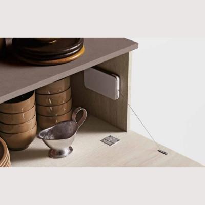 Buffet buffet avec élément supérieur, intérieur en tissu glamour