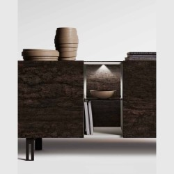 Ponte sideboard, living area with smoked glass shelves