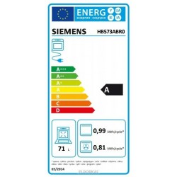 """SIEMENS HB573ABR0 Electric oven 3600 w Energy class """"A"""" """"5 programs"""