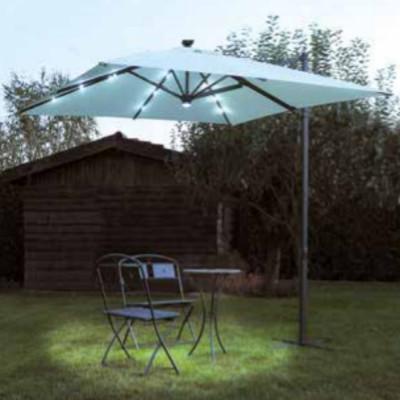 Parapluie carré 3 x 3 mètres, avec lumières et spot central