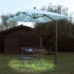 Square umbrella 3 x 3 meters, with lights and central spotlight