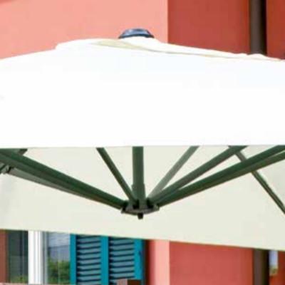 Parapluie rectangulaire 3 x 4 m avec anse, polyester écru et gris tourterelle