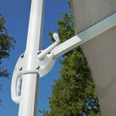 Parasol carré 3 x 3 m avec anse, gris clair avec coupe-vent