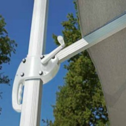 Square parasol 3 x 3 m with handle, light gray with windproof