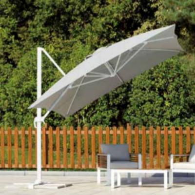Parasol rectangulaire 3 x 4 m gris clair avec coupe-vent