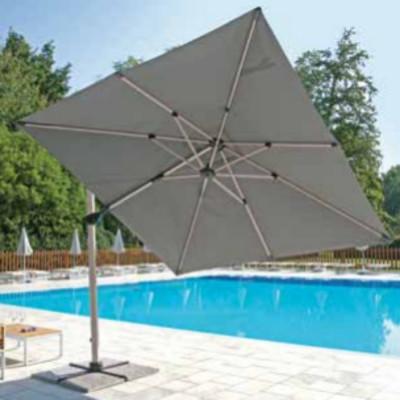 Parapluie carré 3 x 3 m tissu gris oléfine avec coupe-vent