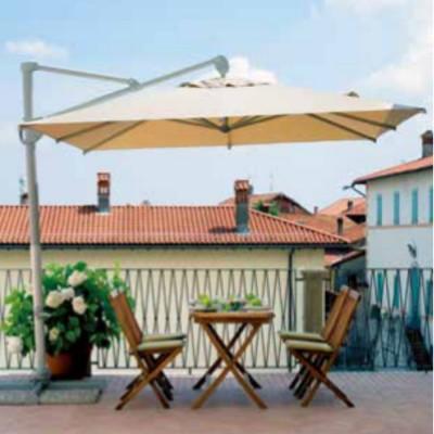 Parapluie carré 3 x 3 m orientable à 360° blanc, écru avec coupe-vent