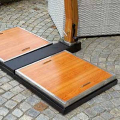 Ombrellone quadrato 3,5 x 3,5 m colore sabbia, bianco