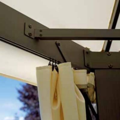 Gazebo rectangulaire 3 x 4 m polyester résiné écru avec coupe-vent
