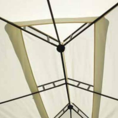 Gazebo rectangulaire 3 x 2 m en polyester écru avec coupe-vent