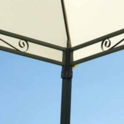 Gazebo carré 3 x 3 m polyester écru avec coupe-vent