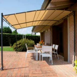 Wall pergola 4 x 3 m polyester sand color