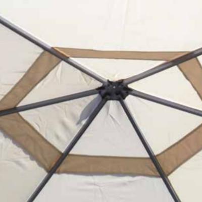 Gazebo hexagonal Ø 4 m polyester résiné couleur sable, avec coupe-vent