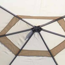 Hexagonal gazebo Ø 4 m sand-colored resinated polyester, with windproof