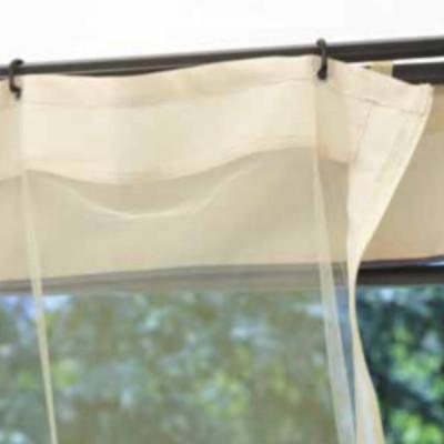 Gazebo carré 3 x 3 m polyester résiné couleur sable, avec coupe-vent