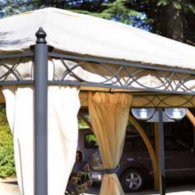 Gazebo rectangulaire 3 x 4 m polyester résiné couleur sable, avec coupe-vent