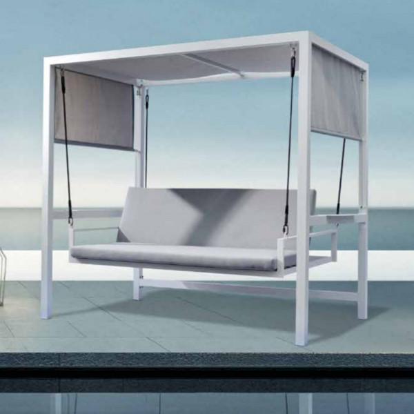 Dondolo 3 posti reclinabile color grigio chiaro