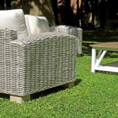 Salon VARANASI en fibre naturelle kubu gris blanchi