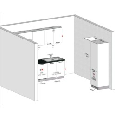 Projet de cuisine modulaire de 420 cm sans électroménager