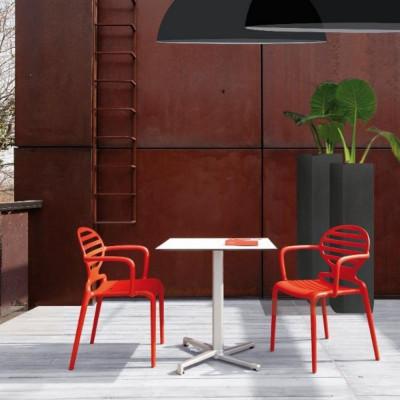 Scab Design Sedia con braccioli Cokka Rosso Pacco da 4 Sedie