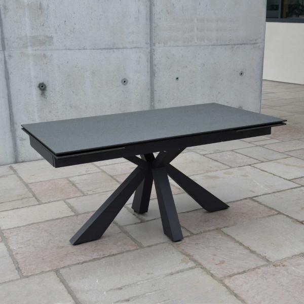 Tavolo Morgana con piano in vetro ceramica finitura pietra nera, 2 all. 40 cm