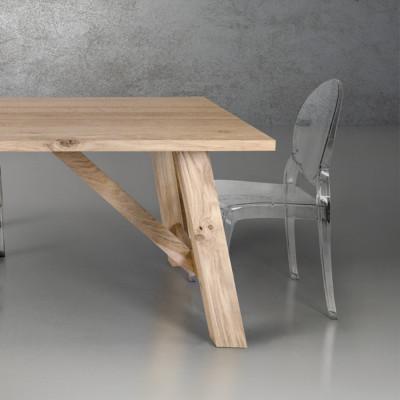 Table fixe en placage de chêne naturel massif